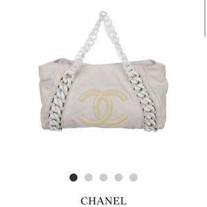 Chanel White Modern Chain Tote Calfskin East West